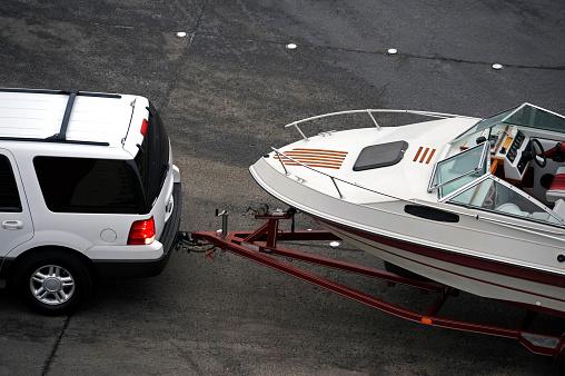 SUV Pulling Boat Trailer
