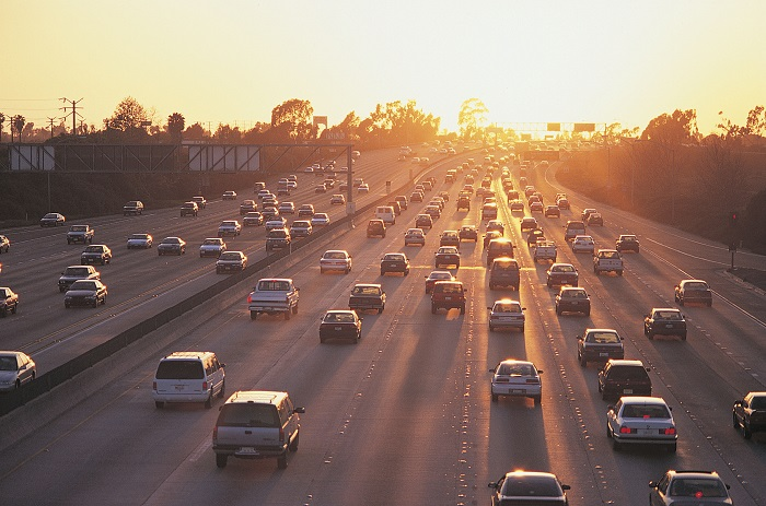 Busy Highway at Sunrise