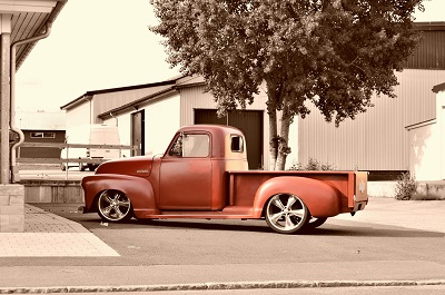 image of red pickup truck